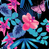Fototapety orchids, butterflies and palm leaves pattern