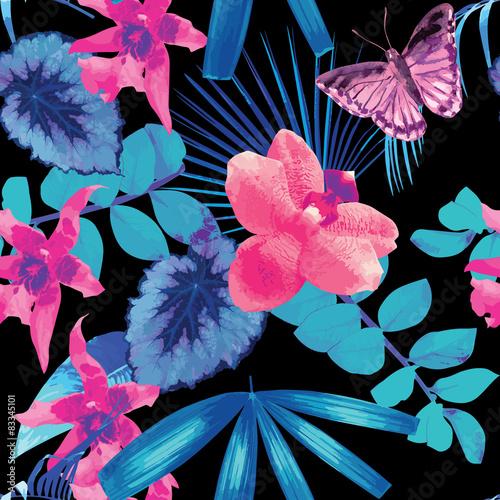 Stoffe zum Nähen Palmen, Orchideen und Schmetterlinge lässt Muster