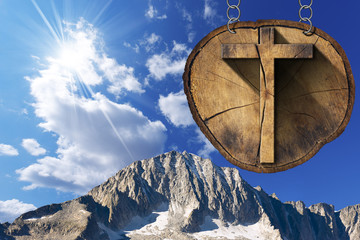 Wooden Cross on Tree Trunk - Italian Alps