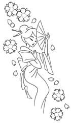 geisha stilizzata con fiori