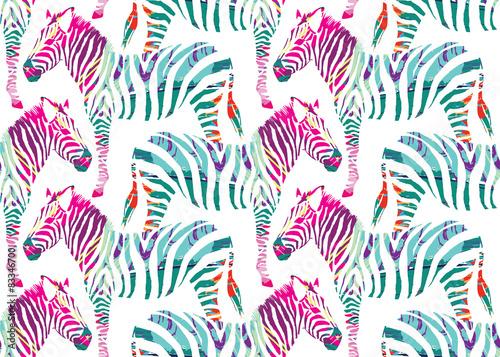 Naklejka zebra painting seamless background
