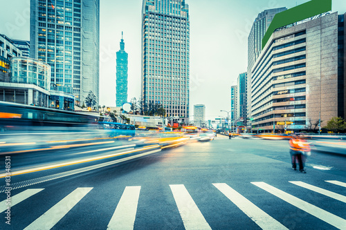traffic blur motion in modern city street - 83348531