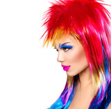 Beauty fashion punk model girl with colorful dyed hair