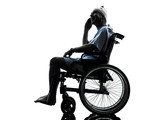 injured man on the telephone happy  in wheelchair silhouette