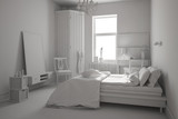 Weißes Schlafzimmer mit Bett