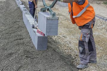 Granite curbing installation, vertical curbing 2
