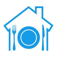 Icono aislado restaurante azul