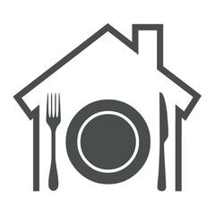 Icono aislado restaurante gris