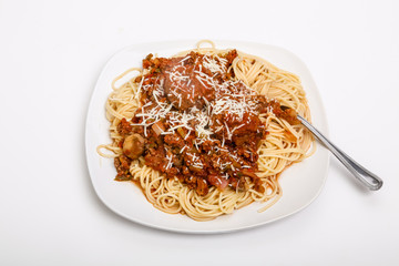 Spaghetti and Meatballs on Square White Plate