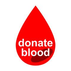 Icono texto donate blood en gota sangre