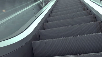 Escalators in Modern Interior, Opportunity or Success Concept.