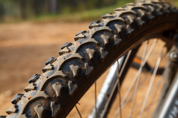 Detail of a Mountain Bike Tire,Selective focus