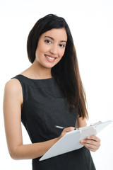 isolated beautiful and successful young business woman