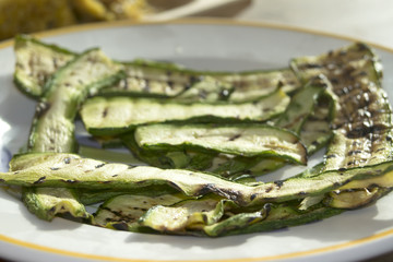 grilled zucchini at the griddle
