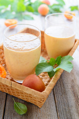 Smoothie from apricots and milk