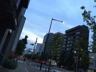 薄暮の横断歩道