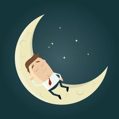 mann mond schlafen lustig traum
