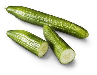 Cucumber and slices on a white background