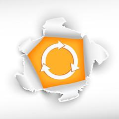 Process circular arrow and breakthrough paper hole
