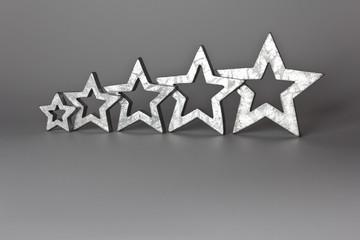 5 silver stars copy space