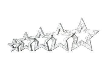 five stars silver isolated white