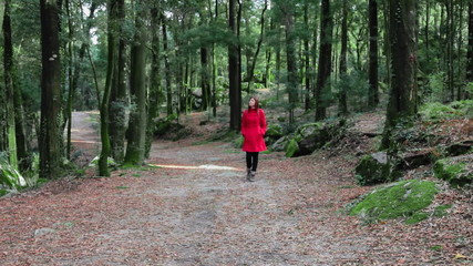Woman wearing a red overcoat walking alone in a forest in fall