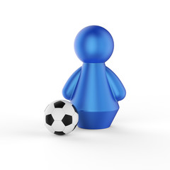 Abstract concept with figure of man with soccer ball. 3d render.