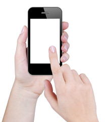 Woman finger touching blank screen of smartphone