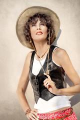 Beautiful woman in cowboy hat