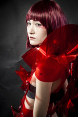 Manga robot with red armor, beautiful young Japanese woman in a