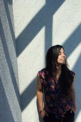 Enjoyment-attractive sexy young woman enjoying sunlight