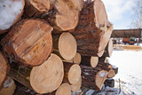 Wooden timber at a sawmill - 83360381