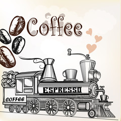 Coffee vintage background with coffee grains and coffee mill loo