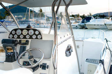 Boat dashboard closeup in details
