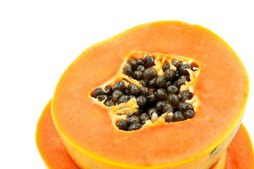 Ripe papaya in dish