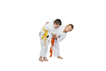 Young athletes trainer judo throws