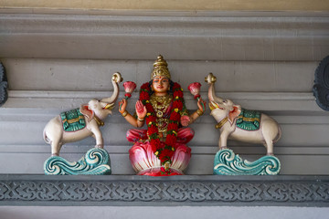 Sculptures in the Sri Srinivasa Perumal Temple in Singapore