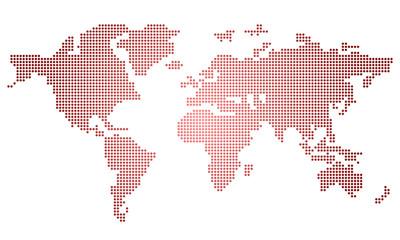 weltkarte punkte dot – rot