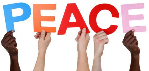Multikulturell People Gruppe halten das Wort Peace