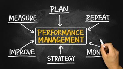 performance management flowchart hand drawing on blackboard