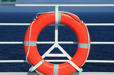 Lifebuoy on deck of cruise liner