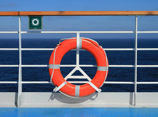 Deck of cruise liner and lifebuoy