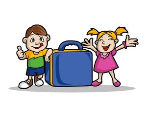 boys girl and suitcase character image vector