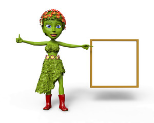 Green Girl with white board giving a thumbs up