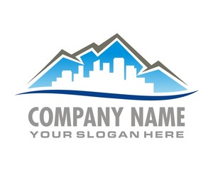 urban and mountains logo image vector