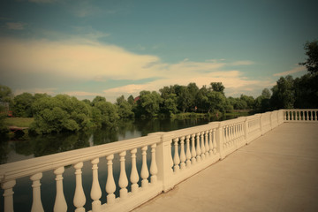 country landscape with white balustrade