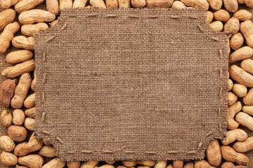 Figured frame made of burlap on peanut