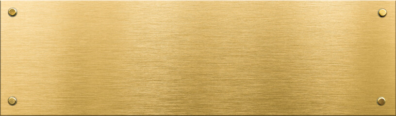 gold metal plaque or nameboard with rivets