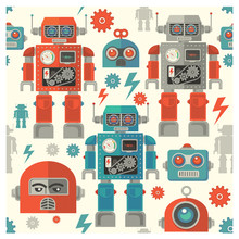 seamless retro Robot  pattern,cartoon vector illustration