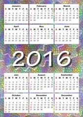 2016 calendar on rainbow mosaic background